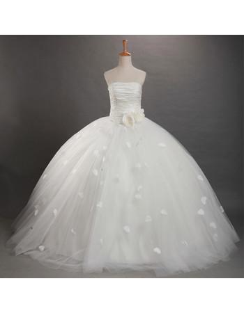Cheap Classic Ball Gown Applique Long Strapless Organza Wedding Dress