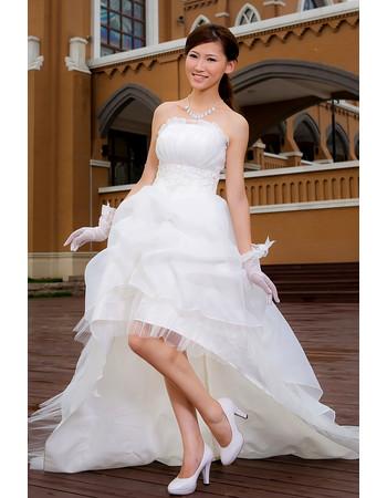 Cheap Classy Romantic Informal Asymmetric High-Low Strapless Organza Wedding Dress