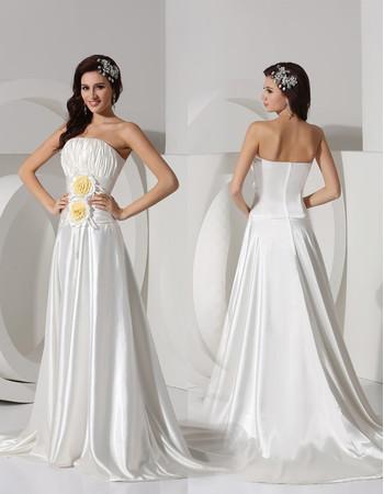 Affordable Modern A-Line Strapless Court Train Satin Wedding Dress
