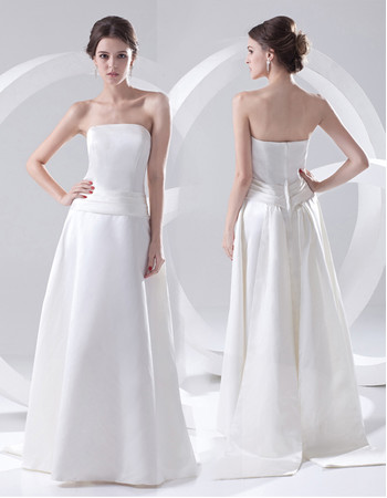 Simple Elegant A-Line Strapless Floor Length Satin Wedding Dress