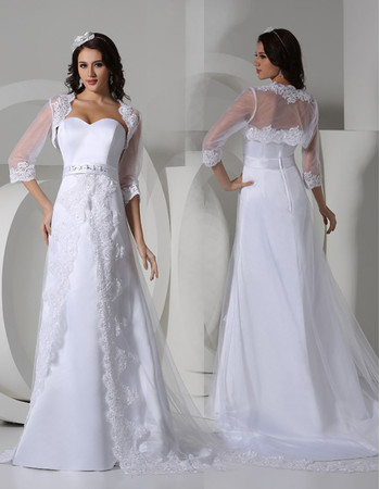 Modern Sweetheart Sweep Train Satin Wedding Dress with Jackets