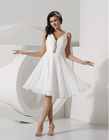 Inexpensive Modest A Line V Neck Knee Length Ruched Chiffon Beach Wedding Dress