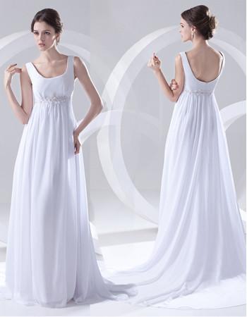 Cheap Elegant Empire Scoop Court Train White Chiffon Wedding Dress