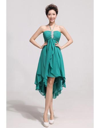 Affordable Charming Asymmetric High Low Chiffon Empire Halter Bridesmaid Dress Us 119 99 Idreambuy Com,Neon Green Wedding Dresses