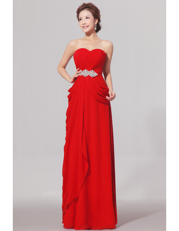 Affordable Sweetheart Floor Length Chiffon Sheath Bridesmaid Dress for Wedding