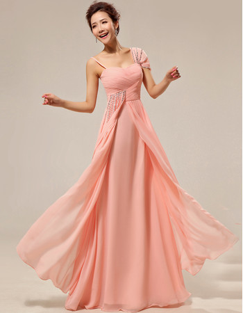 Beautiful Custom Asymmetric Chiffon Floor Length Sheath Bridesmaid Dress