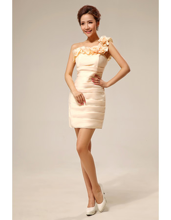 Women's Sexy One Shoulder Column Short Satin Cocktail Party Dress