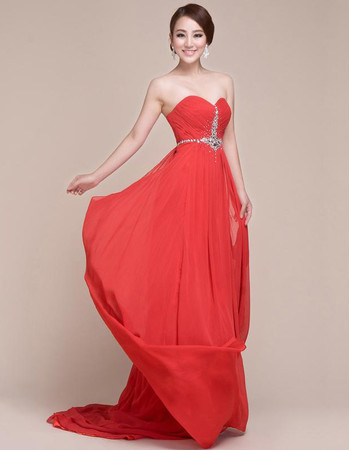 Discount Custom Chiffon Sweetheart Sweep Train Column Prom Evening for Women