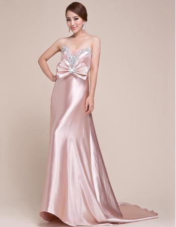 Stunning Satin Sweetheart Sweep Train Sheath Prom Formal Evening for Women