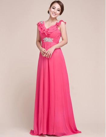 Beautiful Custom V-Neck Chiffon Sweep Train Sheath/ Column Prom Evening for Women