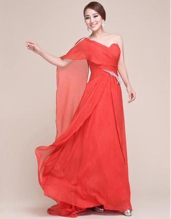 Affordable One Shoulder Chiffon Long Sheath Prom Evening for Women