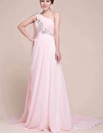 Custom One Shoulder Empire Chiffon Floor Length Prom Evening for Women