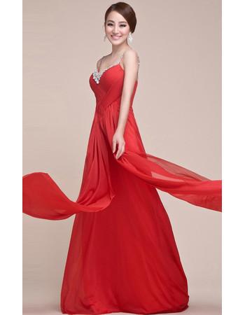 Discount Spaghetti Straps Chiffon Floor Length Prom Evening for Women