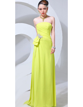 Affordable Strapless Chiffon Sheath Long Prom Evening for Women