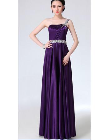 Affordable Elegant One Shoulder Satin Column Long Prom Evening Dress for Women