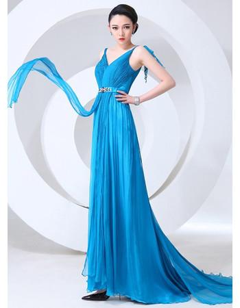 Elegant V-Neck Sheath Chiffon Long Prom Evening Dress for Women