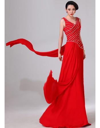 Affordable Designer V-Neck Sheath Chiffon Floor Length Prom Evening Dress for Women