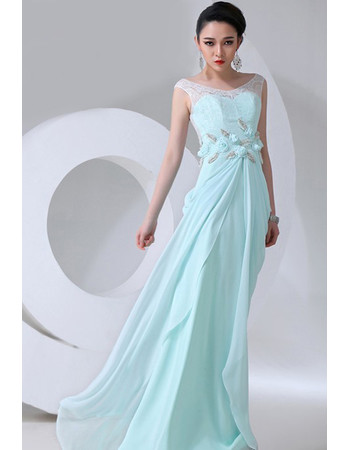 Affordable Designer Chiffon Sheath Scoop Long Prom Evening Dress for Women