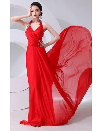 Elegant Halter Chiffon Court Train Sheath Prom Evening Dress for Women