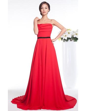 Classic A-Line Strapless Chiffon Court Train Prom Evening Dress for Women