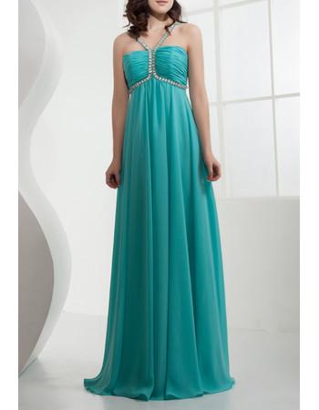 Affordable Chiffon Empire Waist Spaghetti Straps Long Prom Evening Dress for Women