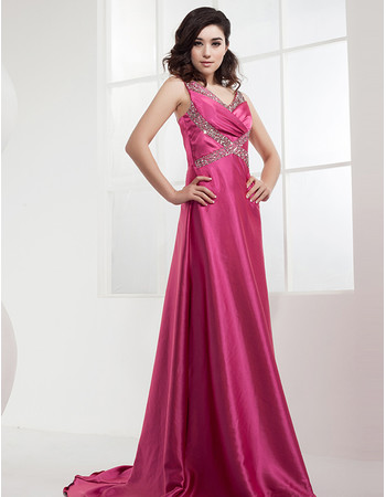 Affordable Satin A-Line Sweep Train Spaghetti Straps Prom Evening Dress for Women