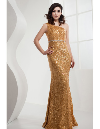Affordable Gorgeous Sequin One Shoulder Mermaid Long Prom Evening Dress for Women