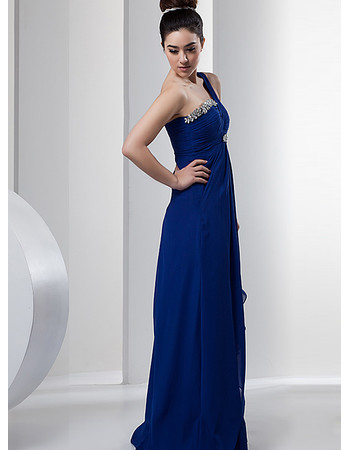 Affordable One Shoulder Chiffon Floor Length Sheath Prom Evening Dress for Women