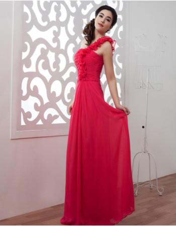 Beautiful One Shoulder Chiffon Floor Length Sheath Prom Evening Dress for Women