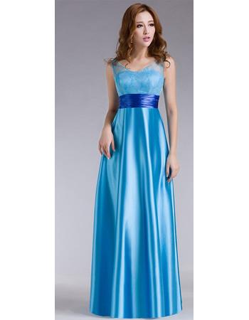 Stylish Satin A-Line High Waist Floor Length V-Neck Evening/ Prom Dress for Women