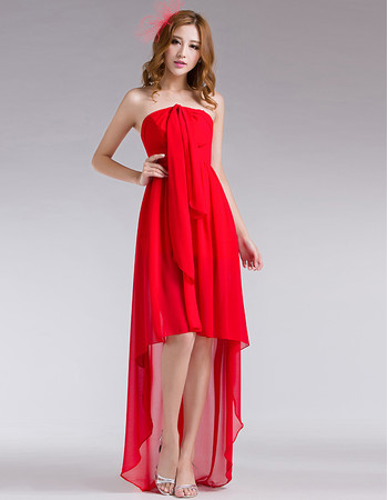 Charming High-Low Chiffon Strapless Prom Evening Dress for Summer