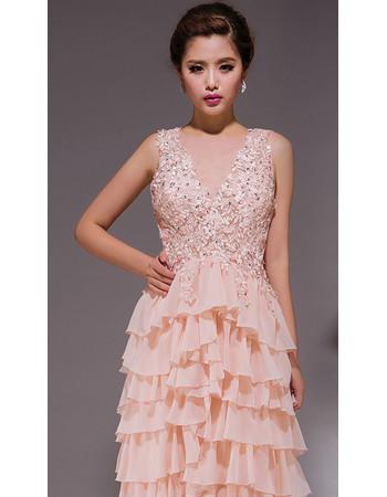 Stunning Tiered Skirt V-Neck Chiffon Sheath Sweep Train Formal Evening Dress