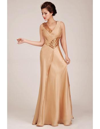 Stunning Sheath V-Neck Long Satin Formal Evening Dress for Women