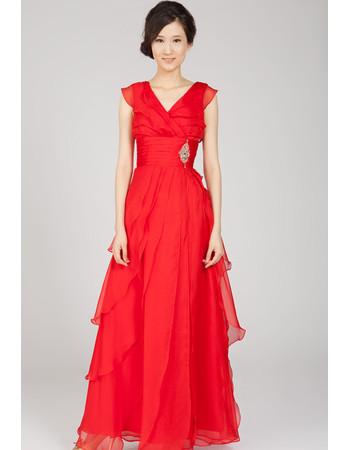 Simple Chiffon Layered V-Neck Floor Length Formal Evening Dress for Women
