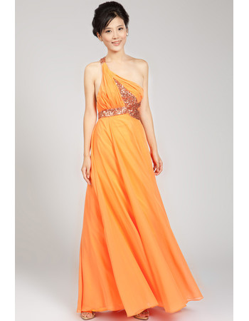 Sexy One Shoulder Chiffon Floor Length Formal Evening Dress for Women