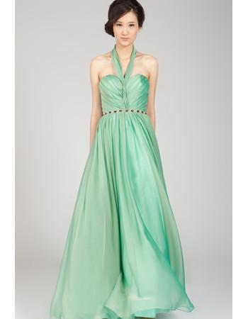 Affordable Halter Chiffon Floor Length A-Line Formal Evening Dress for Women
