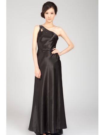 One Shoulder Black Satin Sweep Train Formal Evening Dress for Women