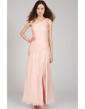 One Shoulder Chiffon Long Sheath Formal Evening Dress for Women