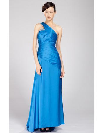 One Shoulder Chiffon Sweep Train Sheath Formal Evening Dress for Women