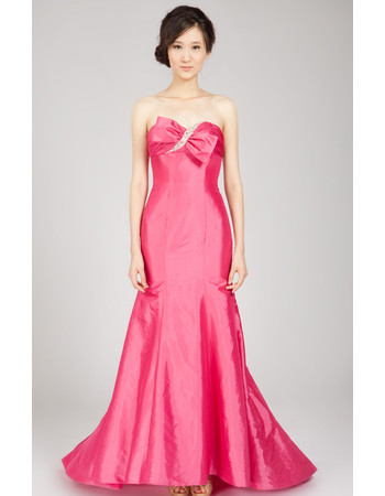 Vintage Mermaid Sweetheart Sweep Train Taffeta Formal Evening Dress for Women