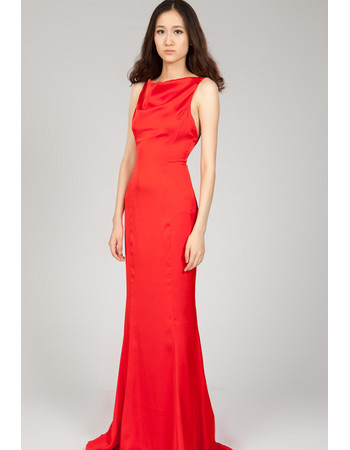 Trendy Backless Sheath Sweep Train Red Chiffon Formal Evening Dress for Women