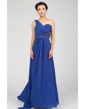 One Shoulder Chiffon Sweep Train Empire Formal Evening Dress for Women