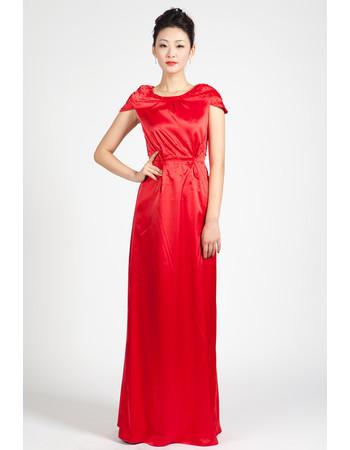 Cap Sleeves Satin Column Floor Length Formal Evening Dress for Women