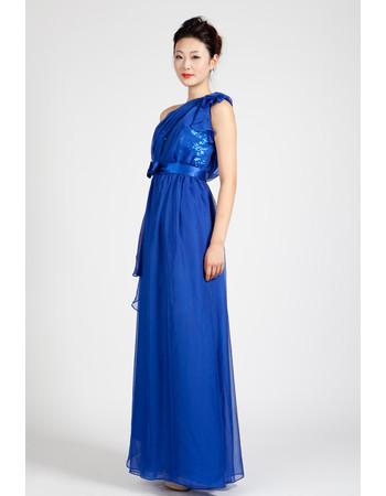 One Shoulder Blue Chiffon Column Long Evening Dress for Women