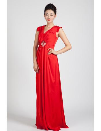 Modern High Waist V-Neck Long Red Chiffon Prom Evening Dress for pregnant Women