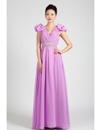 Beautiful Cap Sleeves Chiffon Floor Length A-Line Prom Evening Dress for Women