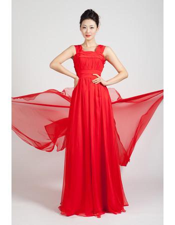 Beautiful Chiffon Long Red Straps A-Line Prom Evening Dress for Women