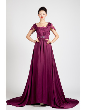Beautiful Cap Sleeves Chiffon Sweep Train A-Line Prom Evening Dress for Women