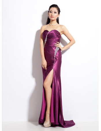 Sexy Satin Sheath Sweetheart Sweep Train Prom Evening Dress for Women