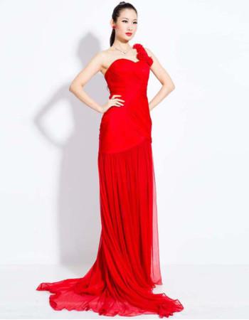 Elegant One Shoulder Chiffon Sheath Sweep Train Prom Evening Dress for Women